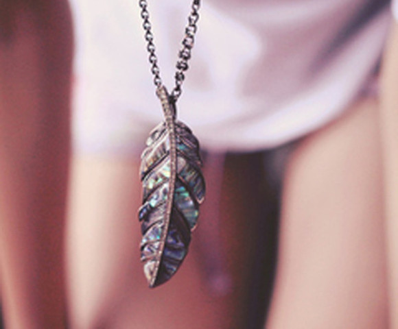 jewels feather silver mother of pearl diamonds pendant feather pendant
