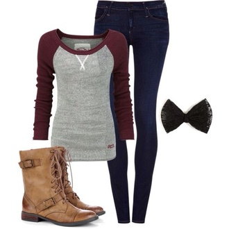baseball tee wine red grey long sleeves back to school combat boots