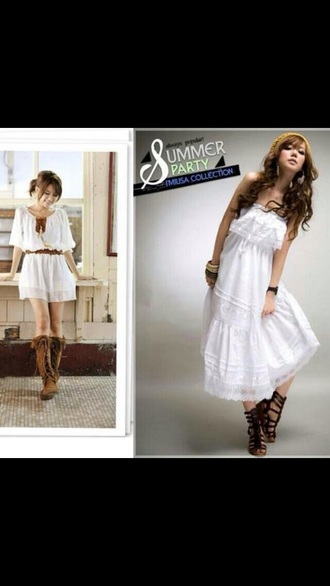 dress white chiffon brown belt feathers boho bohemian bohemian dress