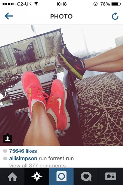 ... shoes nike nike sneakers tumblr me pink hot punch beaut beautiful  trainers sneakers colorful free run