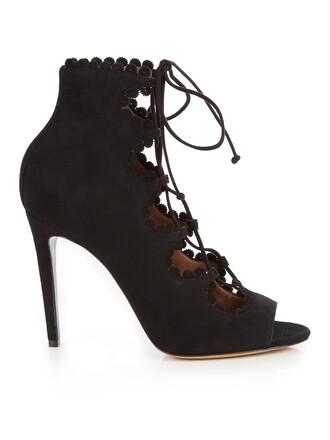 pumps lace suede black shoes