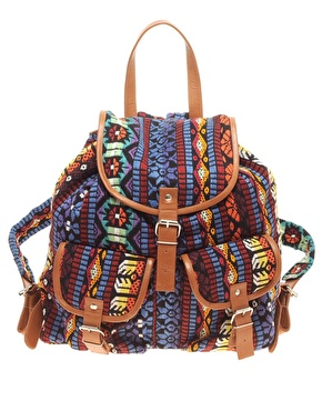 Asos leather trim aztec pattern backpack at asos