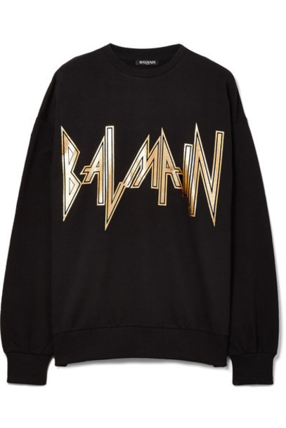 Balmain sweatshirt oversized cotton black sweater