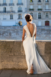 dress,prom,formal,maxi dress,long dress,deep v back,deep v,gown,prom dress,white,wedding,low back