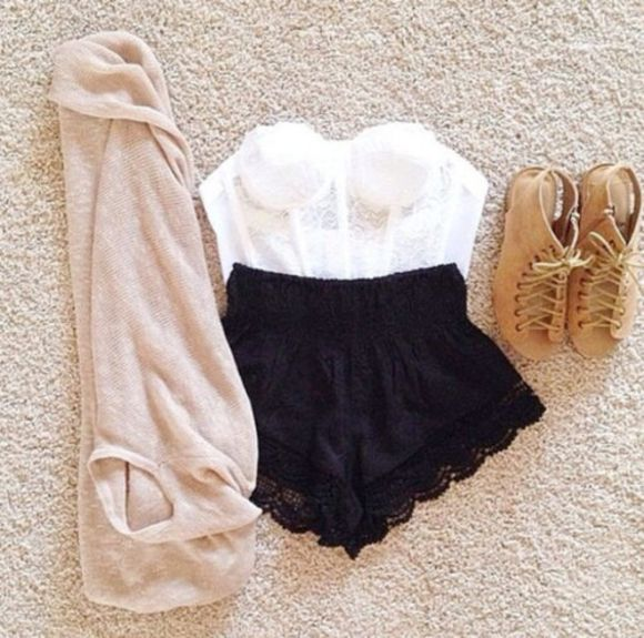 heels high heels crop tops cardigan bralette shorts lace boots High waisted shorts corset top summer outfits