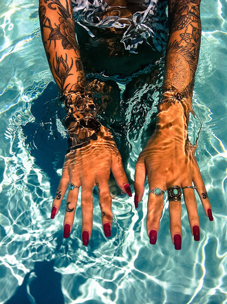 jewels boho hippie red summer ring nails gypsy one tattoo pool lifestyle travel summer sports
