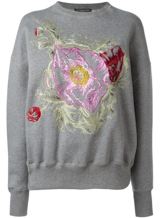 sweatshirt embroidered women floral cotton grey sweater
