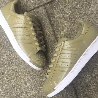 shoes adidas kaki white superstar