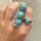 Adjustable 3 turquiouse stones ring - long vintage silver ring - natural semi-precious gemstone - zodiac birthstone