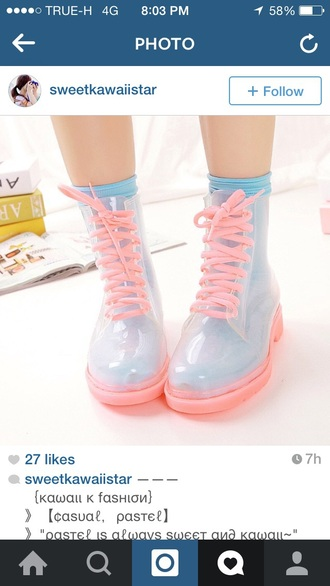 shoes pastel boots pastel shoes girly korea japan transparently kawaii shoes girly shoes wellies