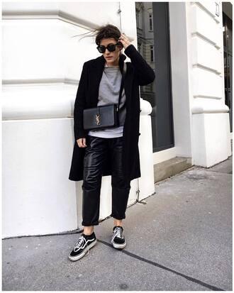 pants tumblr black pants leather pants black leather pants sneakers black sneakers vans coat black coat sweater grey sweater