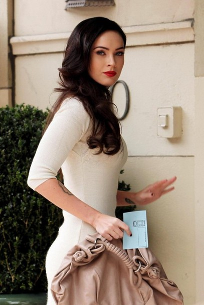Dress: white dress, bag, handbag, megan fox, make-up - Wheretoget