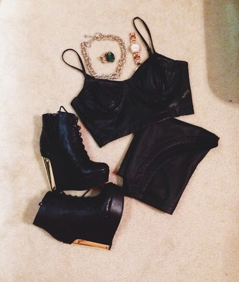 black top sexy leather bottoms leathertanktop urban booties