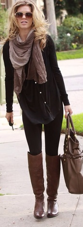 shirt,shoes,runched nude scarf,loose shirt,black,black leggings,knee high brown boots,blouse,boots,brown,over the knee,tall,black longsleeve,button up blouse