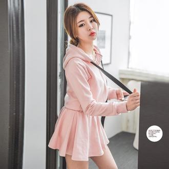 jacket korean fashion korean style tumblr mini skirt pink mini skirt pink hoodie pink jacket pink zip up jacket sexy slim xl xxl curvy small asian fashion