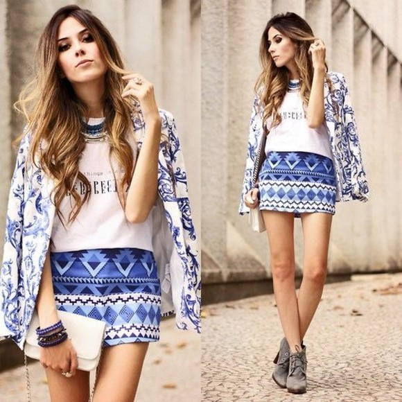 geometric skirt zara blue aztec tribal