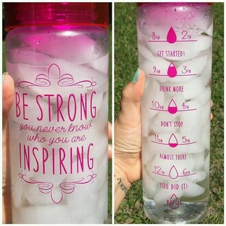 water water bottle motivation fitness inspiration mug home accessory quote on it new years resolution pink hair accessory workout drink bottle