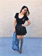 redsolesandredwine,blogger,t-shirt,jacket,skirt,shoes,sunglasses,pleated skirt,black skirt,boots,grey boots,thigh high boots,denim jacket,black t-shirt,revolve clothing,black leather skirt,knee high boots,aviator sunglasses