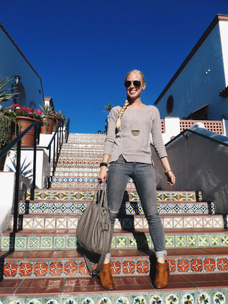 thedailysavant blogger jewels sweater jeans shoes grey sweater grey bag ankle boots grey jeans fall outfits