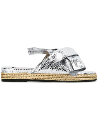women beaded sandals leather grey metallic shoes