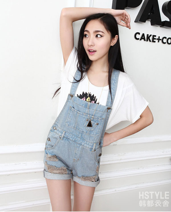 Women Girl Washed Jeans Denim Casual Hole Jumpsuit Romper Overall Short QOK 1376-in Jumpsuits & Rompers from Apparel & Accessories on Aliexpress.com