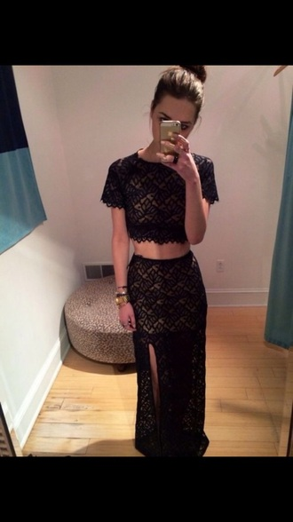 dress black lace two-piece crop tops maxi skirt