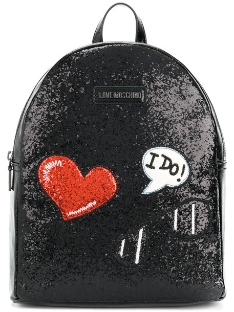 LOVE MOSCHINO glitter embroidered women backpack black bag