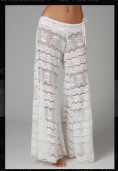 pants,pajamas,white lace,knitwear,chill pants,sweatpants,sleeping pants,homewear,lounge wear,white,cute pants,summer pants