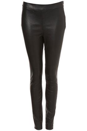 Premium black leather skinny trousers