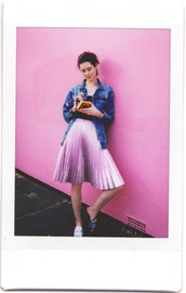 by chill,blogger,jacket,top,skirt,jewels,bag,shoes,denim jacket,pleated skirt,loafers,pink skirt,fall outfits