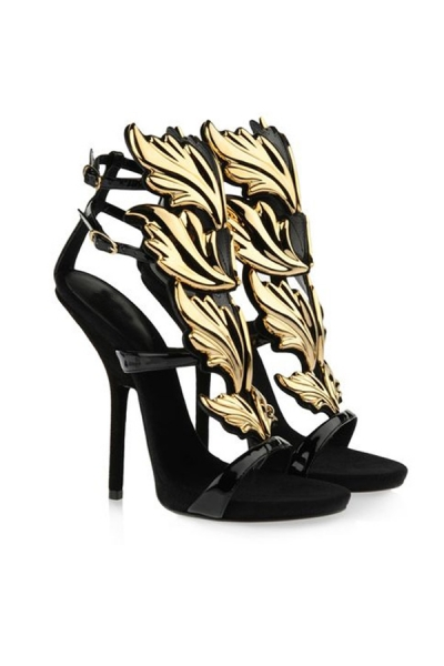 Leaves Vamp Peeptoe Heel Sandals - OASAP.com