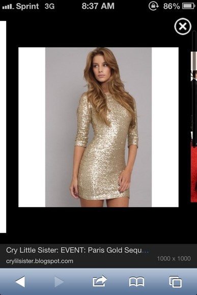 dress gold sequins high neck line, fitted dress long sleeve dress