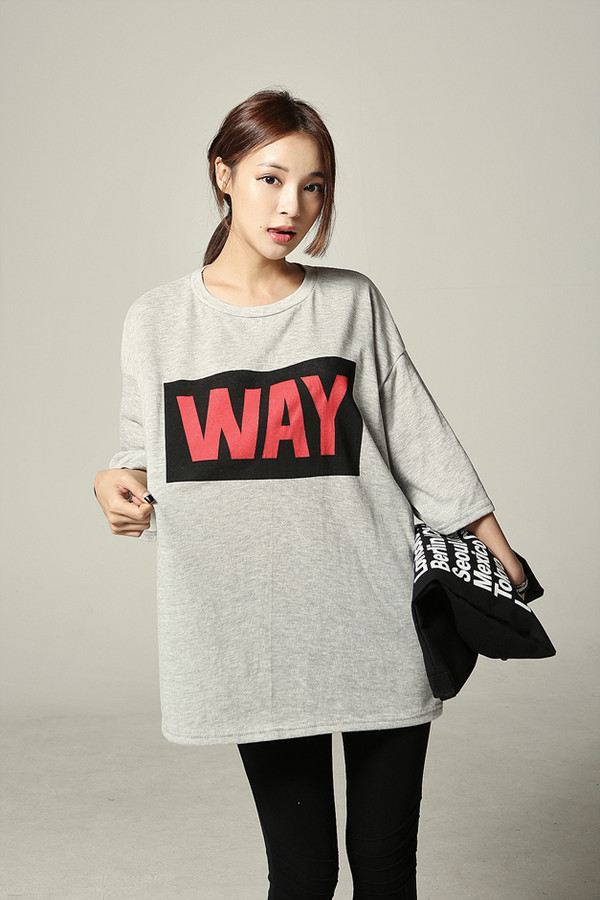 grey t-shirt korean fashion boxy top