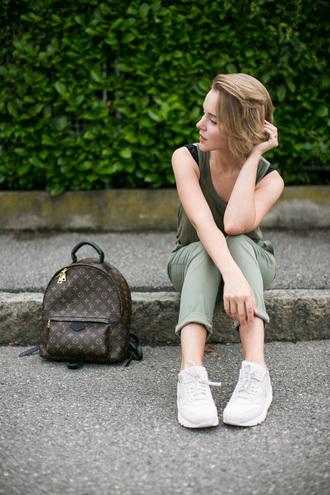 bag green top louis vuitton backpack mini backpack backpack tumblr louis vuitton pants green pants tank top sneakers white sneakers