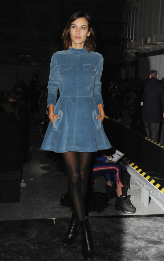 dress blue retro high neck blue dress suede 70s style alexa chung pockets