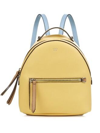 mini backpack leather yellow bag