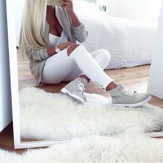 jeans jacket gray jacket white jeans cardigan shoes