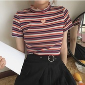 blouse,girly,stripes,striped top,heart,cut-out,frill,frilly