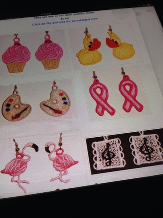 jewels earrings jewelry cupcake duck artist palette breast cancer awareness flamingo g clef colorful embroidered