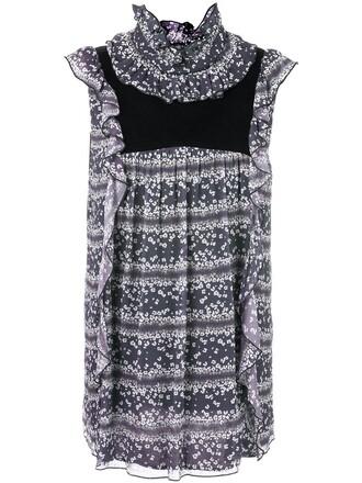 top ruffled top women floral cotton print black