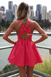 dress,clothes,bow,pink,pink dress,xeniaboutique,neon pink,neon dress,bow dress,bows,socute,summer dress,pink prom dress,short dress,cute,white,blue,coral,red,real,summer,short,fancy,noeux,new york city,beautiful,dos nu