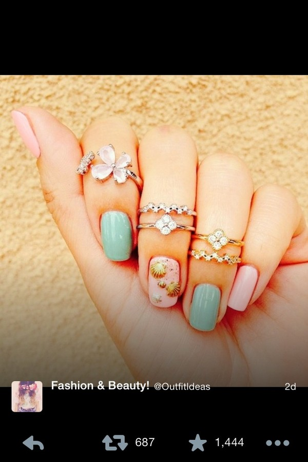 jewels ring nail polish nail accessories nail art nails mint pink shell shell tiger jewelry vintage hippie indian starbucks coffee glue on nails coffee logo