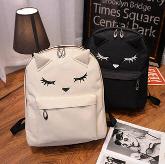 bag kozy black and white yin yang kawaii kawaii grunge school bag backpack cats girly black hippie girl chic