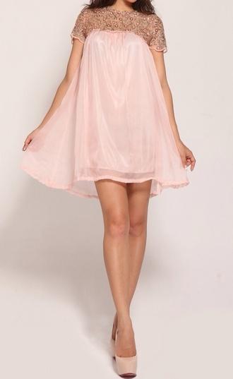 dress pink dress embroidered dress chiffon dress craze crazeclothing