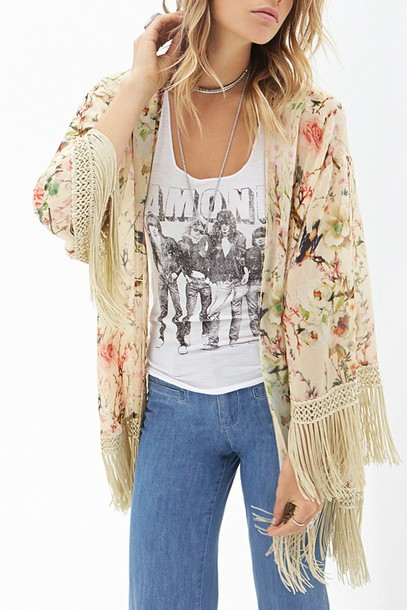 Cardigan back to school floral floral cardigan autumn/winter fall outfits fringes zaful ...
