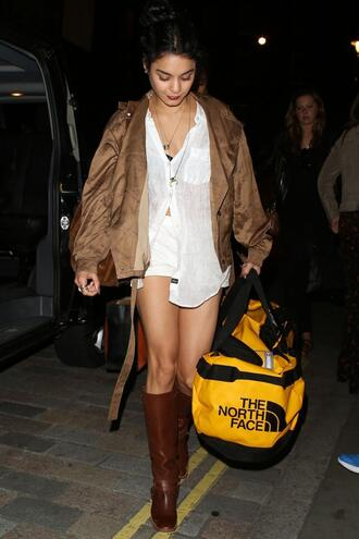 shirt vanessa hudgens boots blouse jacket bag shorts brown the  north  face brown leather boots