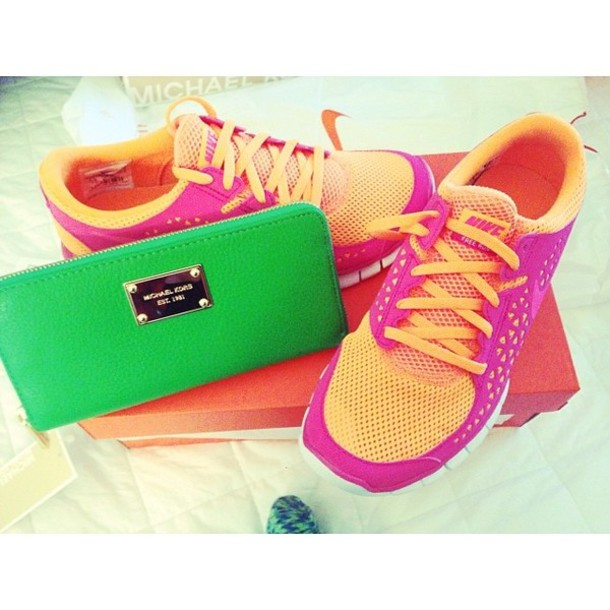 Shoes: nike, nike running shoes, orange, pink, nike free run