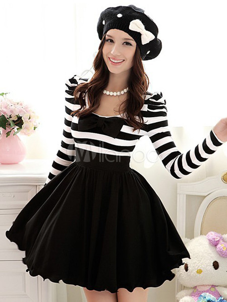 Sweet Black Stripe Ruffles Scoop Neck Women's Skater Dress - Milanoo.com