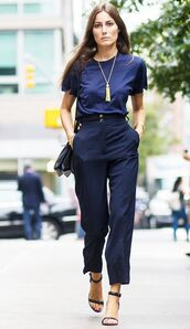top,All navy blue outfit,All blue outfit,blue top,pants,blue pants,office outfits,sandals,black sandals,high heel sandals,bag,black bag,necklace,spring outfits