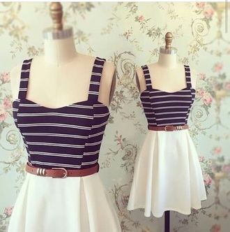 dress cute short dress blue and white striped brown belt
